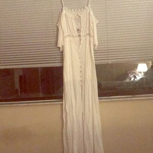 White maxi/cold shoulder dress! New!